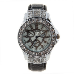 Miler Diamond-Studded Silver Bezel White Dial Bla Leather Band Quartz Watch