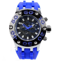 V6 Super Speed Bla Bezel Bla Dial Blue Silicone Band Quartz Watch