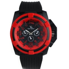 V6 0193 Red Case Minute Scale Rubber Strap Steel Quartz Watch