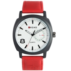 SHSHD 3317 Bla Bezel White Dial Red Leather Strap Quartz Watch