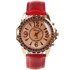 Weicai Diamond-Studded Gold Bezel Light Brown Dial Red Leather Band Quartz Watch
