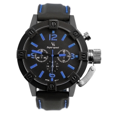 V6 Super Speed Bla Dial with Time Adjusting Protector Quartz Watch