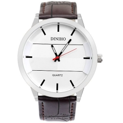 Men's Silver Case Simple White Dial Brown Strap Quartz Watch