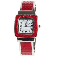 USS Red Bezel White Dial Red Leather & Steel Band Quartz Bracelet Wrist Watch