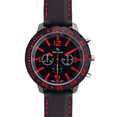 V6 Super Speed Bla Bezel Bla Dial Red Hands Quartz Watch with Two Decorated Buttons
