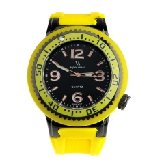 V6 Super Speed Yellow Bezel Bla Dial Yellow Silicone Band Quartz Watch