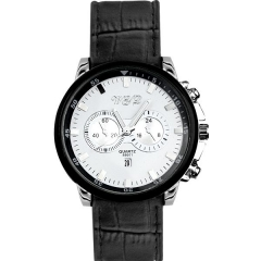 Men's Stylish Silver Case White Dial Calendar Quartz Watch