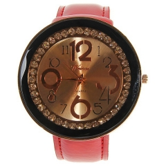Weicai Bla Bezel Diamond-Studded Rose Gold Dial Red Leather Band Quartz Watch