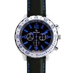 V6 Super Speed Silver Bezel Bla Dial Blue Hands Quartz Watch