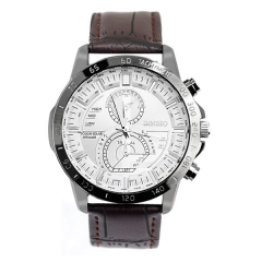 Men's White Dial No. Eight Pattern Leather Strap Quartz Watch