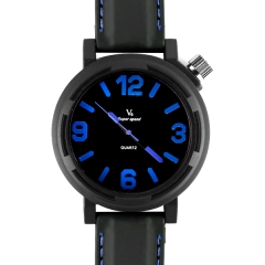 V6 Super Speed Personality Bla Bezel Bla Dial Blue Number Quartz Watch