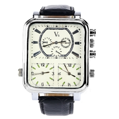 V6 Super Speed Silver Bezel White Dial Bla Leather Band Three Movement Quartz Watch