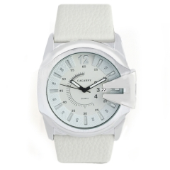 Cagarny 6838 Date Display Silver Bezel White Dial White Leather Strap Quartz Watch