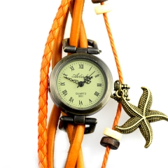 Ailisha Orange Strap Roma Number Dial Quartz Woman Watch Bracelet with A Starfish Pendant