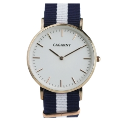 Cagarny Contrast Color Nylon Strap Two-pin Semi-steel Quartz Watch