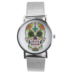 Stylish Skull Dial Silver Strap Quartz Watch