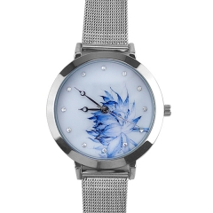 Ladies' Lotus Dial Dots Metal Quartz Watch