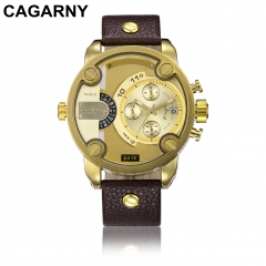 CAGARNY 6818 Original Men's Sports Leather Strap Quartz Date Wrist Watch