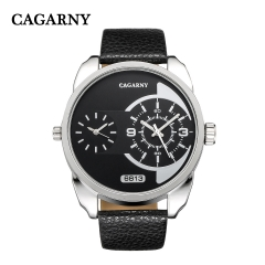 CAGARNY 6813 Original Men's Sports Leather Strap Quartz Date Wrist Watch