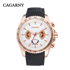 CAGARNY 6827 Original Men's Sports Leather Strap Quartz Date Wrist Watch