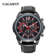 CAGARNY 6826 riginal Men's Sports Leather Strap Quartz Date Wrist Watch