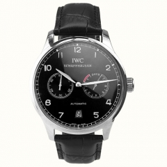 Black Genuine Leather Stainless Steel Case Black Dial Blue Numerals Portuguese Automatic Watch