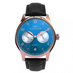 Black Genuine Leather Strap Rose Gold Plated Case Midnight Blue Dial Portuguese Automatic Watch