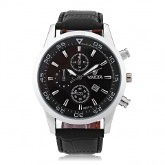 Valia 8257 - 2 Quartz Watch Date Leather Band Round Dial for Men